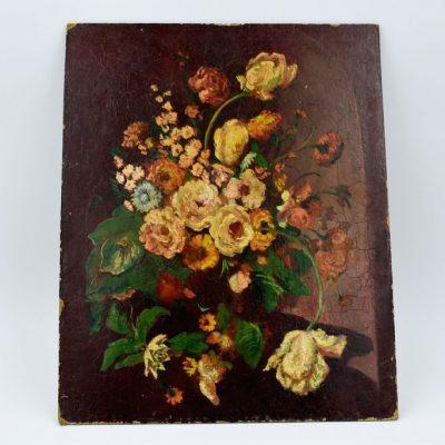 """Tableau huile sur bois """"Bouquet de Fleurs"""""""